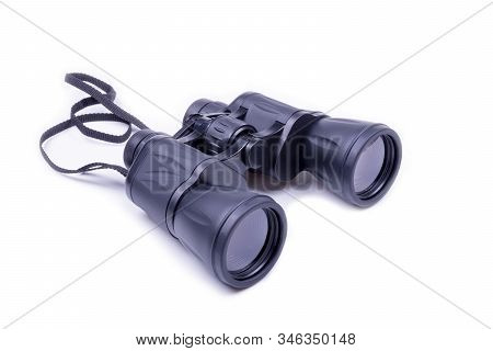Black Binoculars On A White Background, Object Isolated, White Background