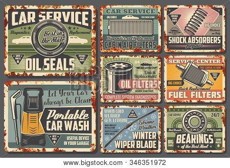 Car Service And Spare Parts Metal Signs. Vector Rusty Card Of Oil Seals, Cabin Air Filters, Shock Ab