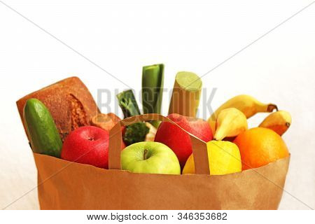Purchasing Healthy Food: Brown Paperbag With Wholegrain Bread, Fruit And Vegetables