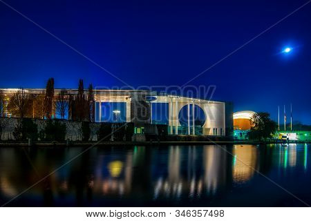 Berlin, Germany - November 17, 2018: The Illuminated Chancellors Office And The House Of Cultures Se