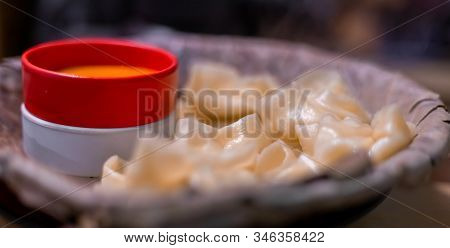 Extreme Close-up Of Tibetan Food Momo Dumplings