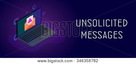 Isometric Laptop With Envelope Icon And E-mail Notification With Unsolicited Messages Warning Icon.