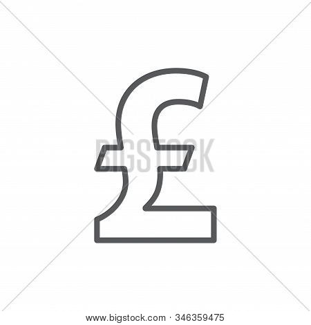 Pound Sterling Line Icon. Minimalist Icon Isolated On White Background. Pound Sterling Simple Silhou