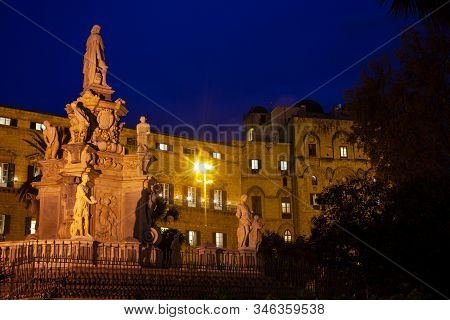 Night View Of The Norman Palace Or Royal Palace Of Palermo Seat Of The Sicilian Regional Assembly An