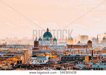 Panoramic View From The Roof Of St. Isaac's Cathedral. Saint Petersburg. Russia.