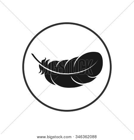 Feather Graphic Icon. Feather Of Bird Sign In The Circle Isolated On White Background. Vector Illust