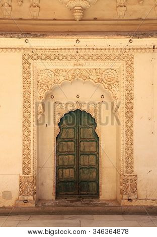 Old Door In A Palace, Jodhpur, Rajasthan, India