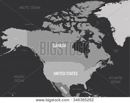 North America Map - Grey Colored On Dark Background. High Detailed Political Map North American Cont