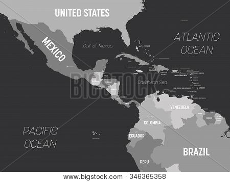 Central America Map - Grey Colored On Dark Background. High Detailed Political Map Central American