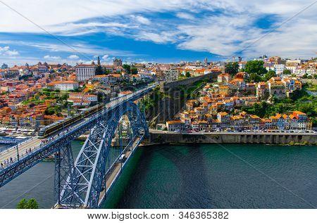 Portugal  Porto Panorama, The Eiffel Bridge, Ponte Dom Luis,  Bridge Ponti Di Don Luis, Douro River,