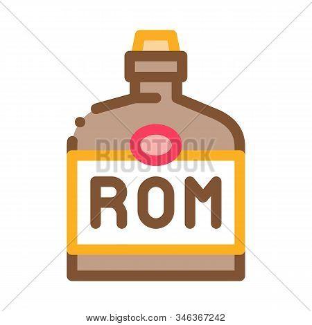Rum Drink Bottle Icon Vector. Outline Rum Drink Bottle Sign. Isolated Contour Symbol Illustration