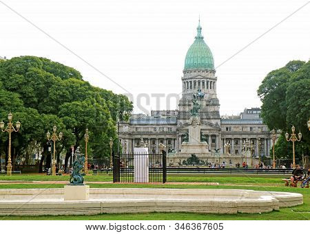 The Palace Of The Argentine National Congress, Gorgeous Monumental Building In Buenos Aires, Argenti