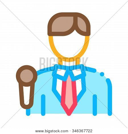 Journalist Man Icon Vector. Outline Journalist Man Sign. Isolated Contour Symbol Illustration