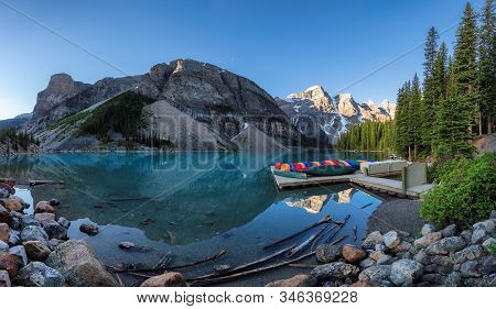 Panoramic View Of Beautiful Moraine Lake In Morning Time, Banff National Park, Alberta, Canada