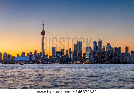 Spectacular Toronto City Skyline At Sunset - Toronto, Ontario, Canada.