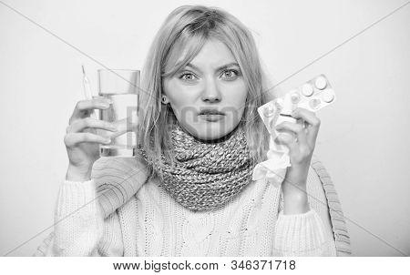 Following Drug Dosage Regime. Sick Girl Taking Anti Cold Pills. Ill Woman Treating Symptoms Caused B