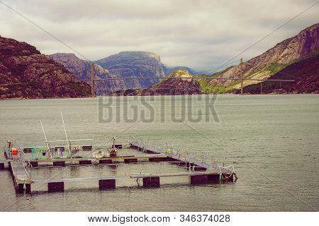 Fjord Landscape. Salmon Fishing Fish Farm On The Sea And Suspension Bridge Over Lysefjord. National