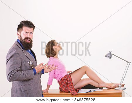 The Director Cant Approve This. Shocked Employment Director Gesturing At Sexi Emplyee Sitting On Des