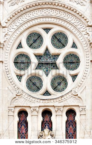 Exquisite Facade Of Historical Synagogue In Reims, France