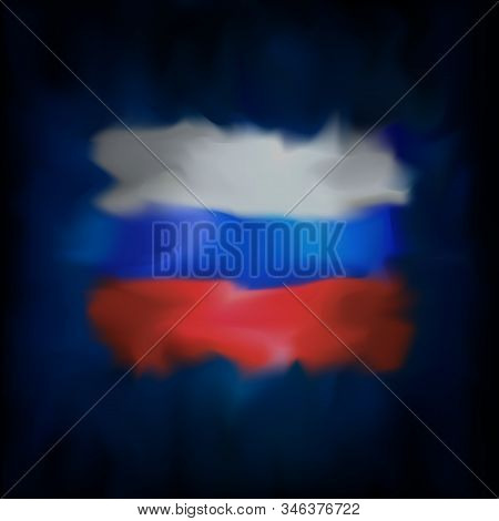 Abstract Flag Of Russia On Blue Sky Background For Creative Design. Russia Flag Banner Design. Const