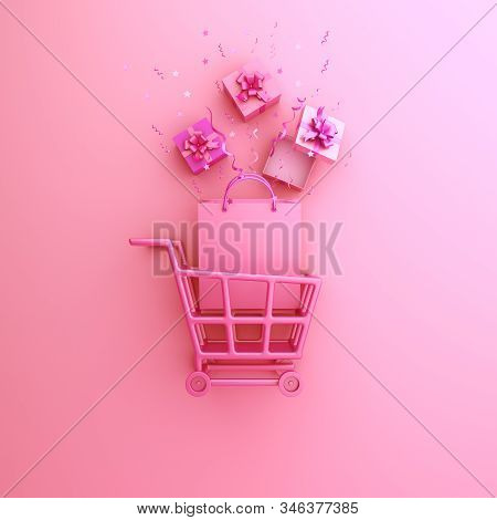 Happy Valentines Day, Valentines Day Background, Trolley Cart, Shopping Bag, Gift Box, Confetti On W