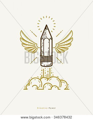 Pencil With Wings Launching Like A Rocket Start Up, Creative Energy Genius Artist Or Designer, Vecto