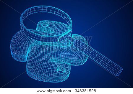 Python Code Language Sign With Magnifying Glass. Programming Coding And Developing Concept. Wirefram