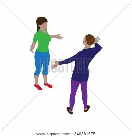 Isometric Scene Of Man And Woman Who Are Talking And Gesticulate Actively. Isolated People In Isomet