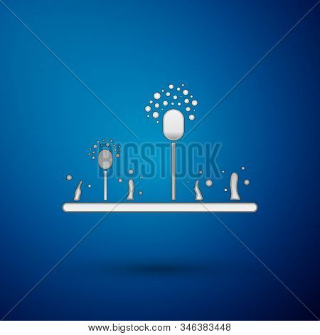 Silver Mold Icon Isolated On Blue Background. Vector Illustration