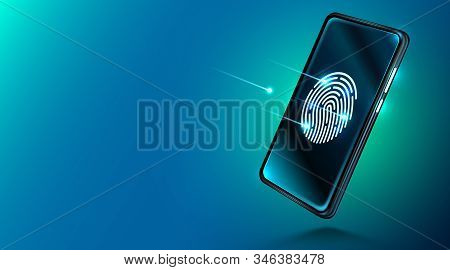 Mobile Data Security Concept. Smartphone With Fingerprint Scanner. Internet Security. Fingerprint Ac