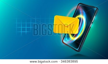 Digital Mobile Technology. Email Sign. Internet Communication. Concept Of Mobile Mailing.