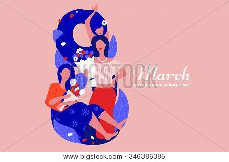 8 March Illustration With Beautiful Girls With Bouquets Of Flowers In Flat Style. Creative Internati
