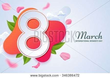8 March Greeting Card Design. Big Number 8 Surrounded By Pink Falling Rose Petals. International Wom