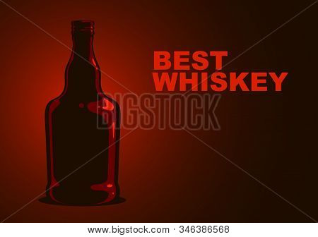 Whiskey Bottle Vector Simple Illustration, Bourbon Cognac Alcohol.