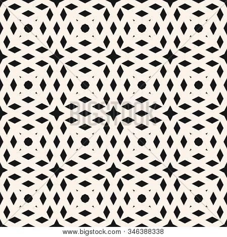 Simple Vector Geometric Seamless Pattern With Small Rhombus Shapes, Grid, Net, Lattice. Abstract Bla
