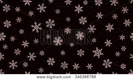 Vector Snowflakes Background. Elegant Dark Christmas And New Year Seamless Pattern With Pink Snow, S