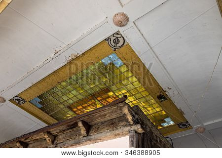 Gori, Georgia, October 13, 2019 : Decorative Ceiling Of The Protective Pergola Above The House In Wh