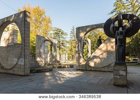 Kutaisi, Georgia, October 13, 2019 : Sculptural Group Made Of Stone And Metal Opposite The City Oper