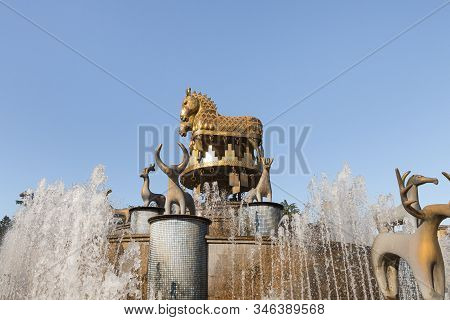 Kutaisi, Georgia, October 13, 2019 : The Colchis Fountain On The Central Square In The Old Part Of K