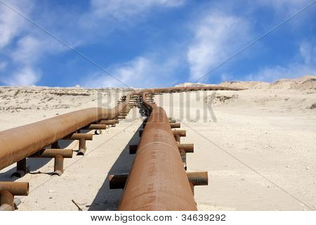 Oil pipeline in the desert of Bahrain