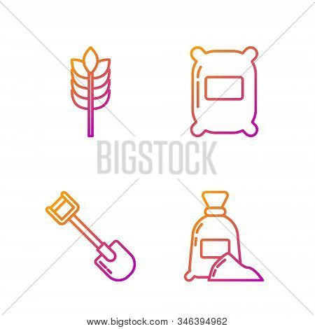 Set Line Bag Of Flour, Shovel, Cereals With Rice, Wheat, Corn, Oats, Rye And Bag Of Flour. Gradient