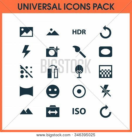 Photo Icons Set With Circle, Hdr, Switch Cam And Other Rotate Left Elements. Isolated Vector Illustr