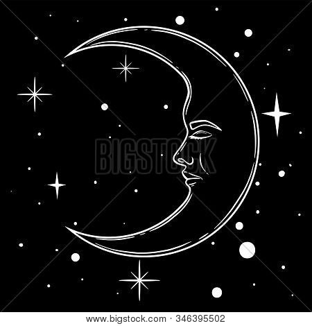 Crescent Moon With Face In Hand Drawn Line Art And Dotwork. Boho Chic Tattoo, Poster, Altar Veil, Ta