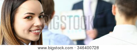 Portrait Of Beautiful Woman Looking With Gladness. Cute Lady Visiting Biz Master Class In Popular Co