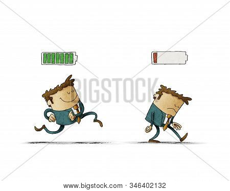 Cheerful Businessman With High Full Level Energy Battery Green And Tired Businessman With Low Batter