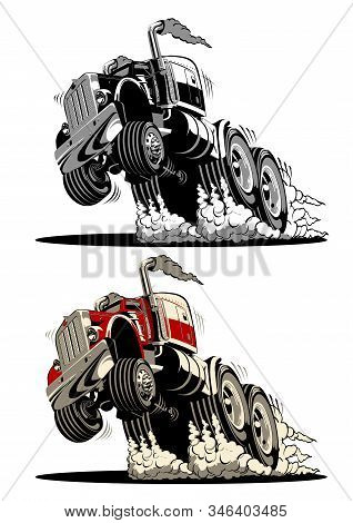 Cartoon Semi Truck Isolated On White Background. Available Eps-8 Vector Format Separated By Groups A
