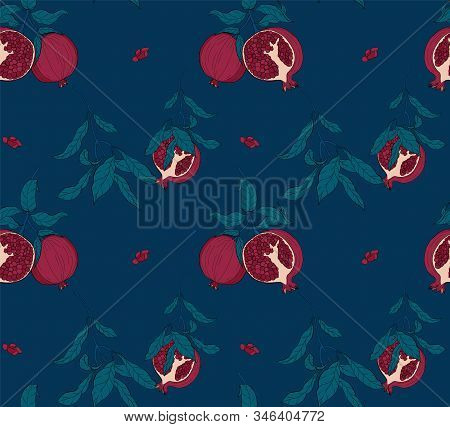 Vector Seamless Pattern With Birds On A Pomegranate Branch With Fruits And Flowers On Blue. Design F