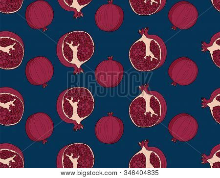 Vector Seamless Pattern With Pomegranate Fruits On Blue Background. Design For Cosmetics, Spa, Pomeg