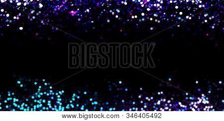 Violet, Pink, Blue, Ultramarine, Ultraviolet, White Lights In Defocus. Ultraviolet Bokeh Effect On A