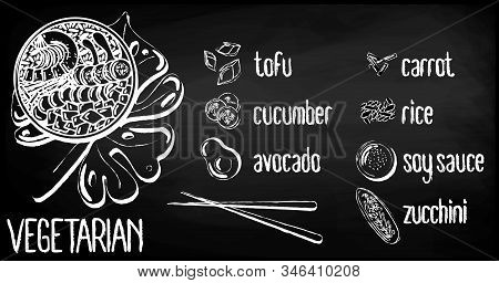 Vector Menu Of Vegetarian Poke Bowl On Chalk Board Background. Illustrations Of A Lunch Of Hawaiian